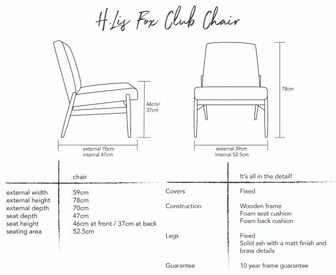 H.Lis Fox Club Chair in Red Brick Velvet Dimensions