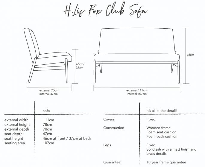 H.Lis Fox Club Sofa Dimensions
