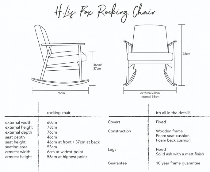 H. Lis Fox Rocking Chair Dimensions