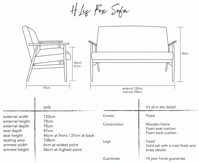 H.Lis Fox Sofa Dimensions
