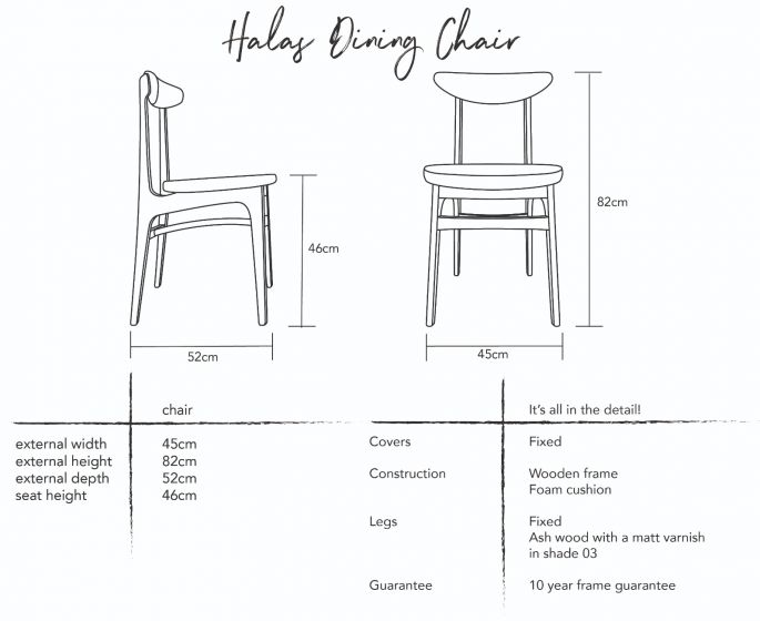Halas Dining Chairs - Set of 2 Dimensions