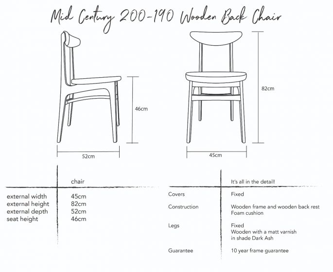 Mid-Century 200-190 Wooden Back Dining Chair Dimensions