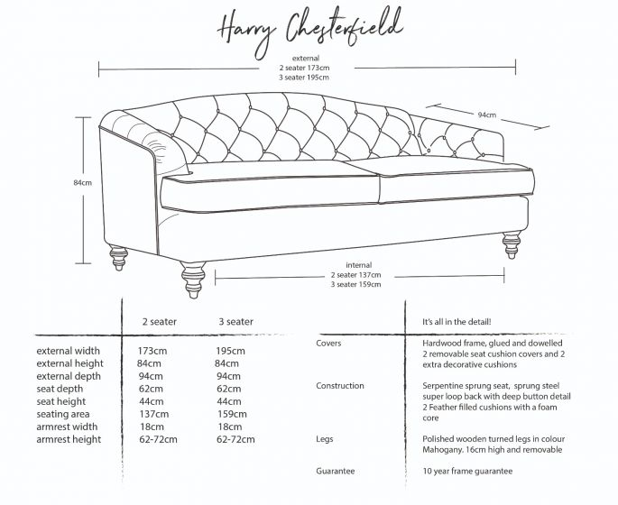 Harry Chesterfield Sofa Dimensions