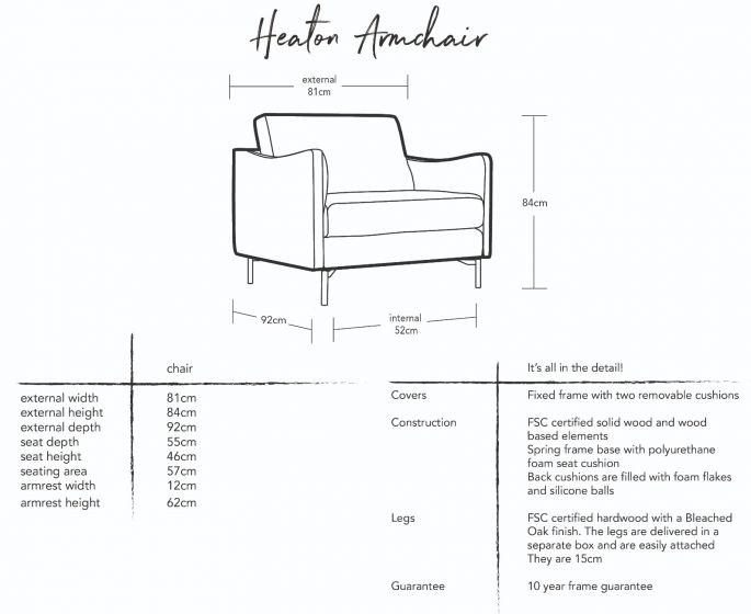 Heaton Armchair Dimensions