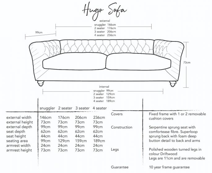 Hugo Chesterfield Sofa  Dimensions