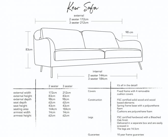 Kew Sofa Dimensions
