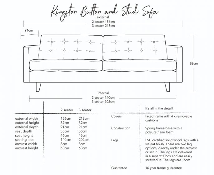 Kingston Button and Stud Sofa Dimensions