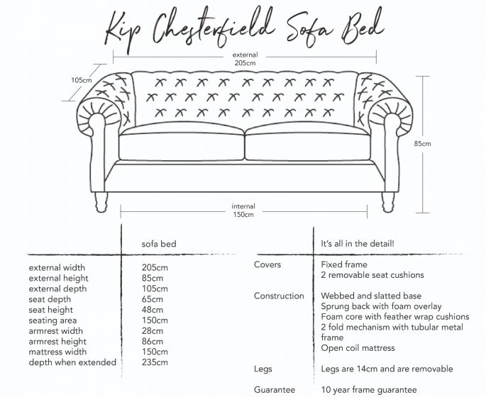 Kip Chesterfield Sofa Bed Dimensions
