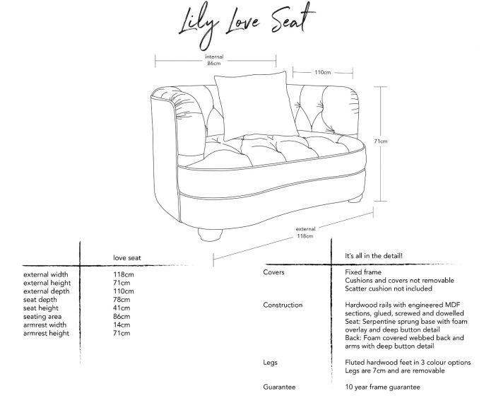 Lily Love Seat Dimensions