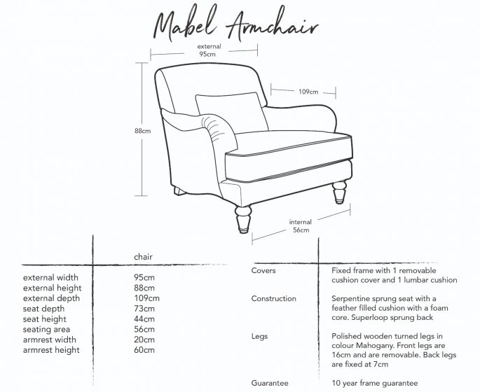 Mabel Armchair Dimensions