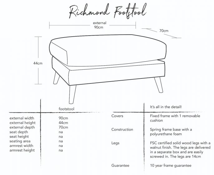 Richmond Footstool Dimensions