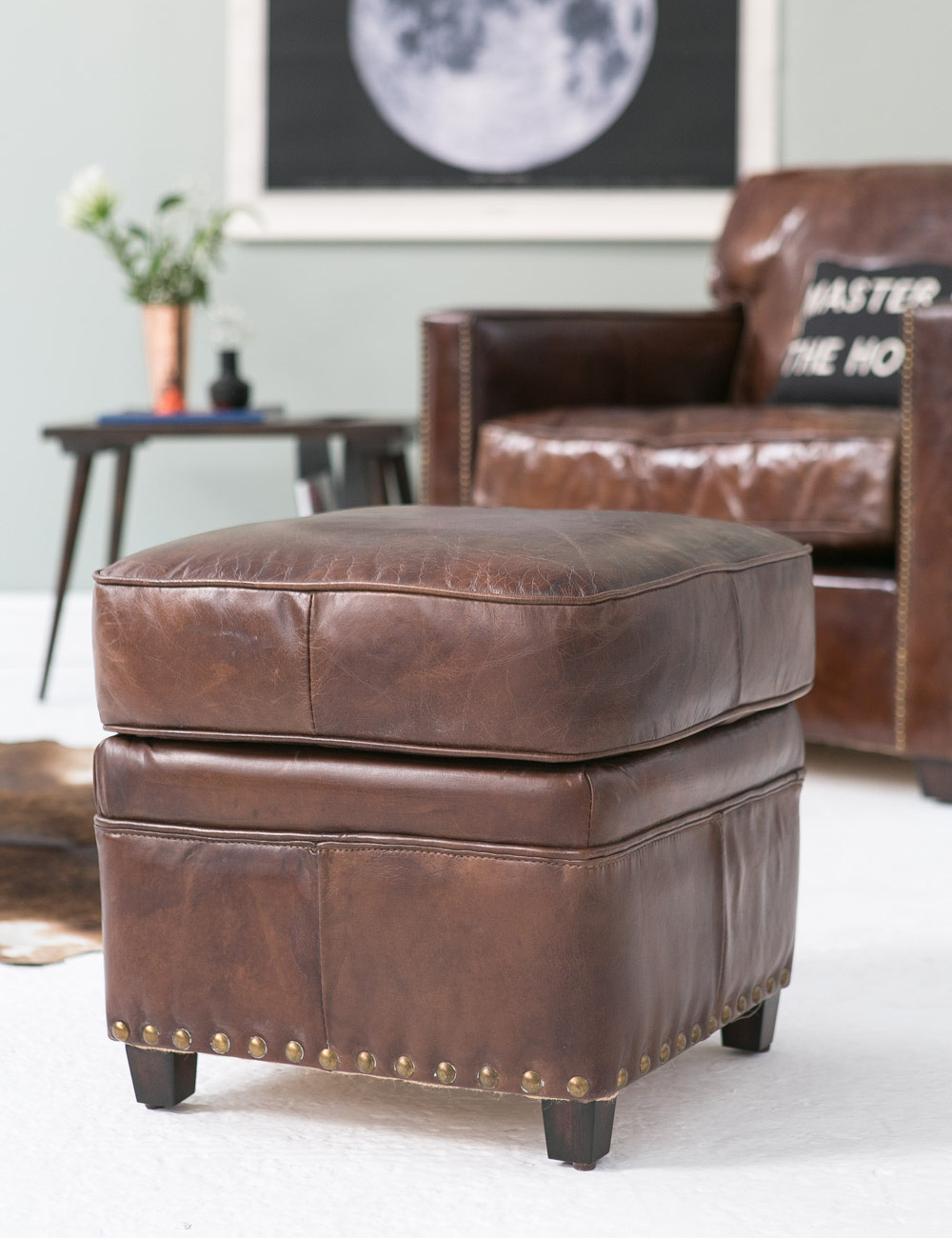 vintage leather footstool vintage leather footstool amp grey 3235
