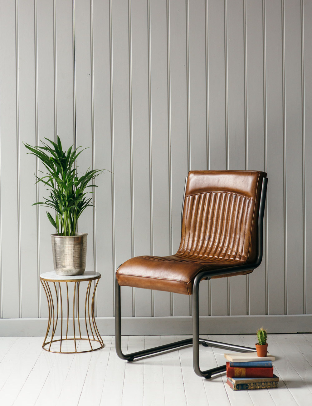 Italian Leather Steel Office Chair In Tan Rose And Grey