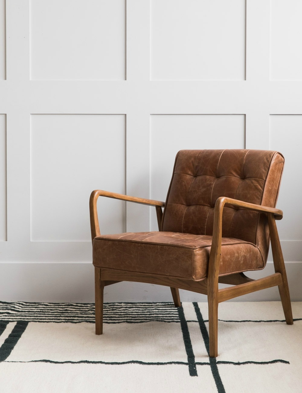 Picture of: Mid Century Button And Stud Brown Leather Armchair Rose Grey