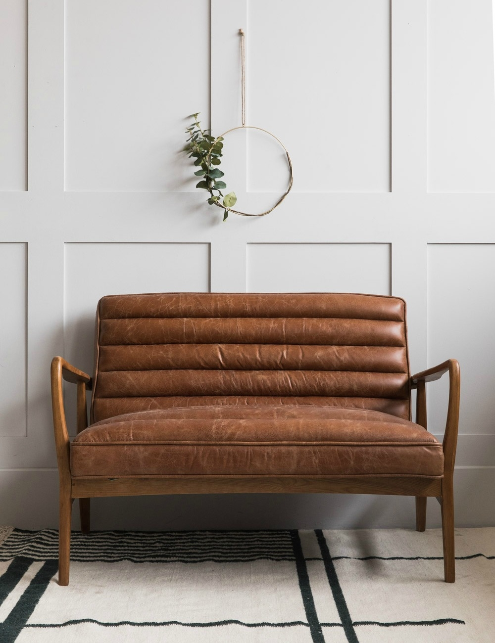 Picture of: Mid Century Leather Two Seater Rose Grey