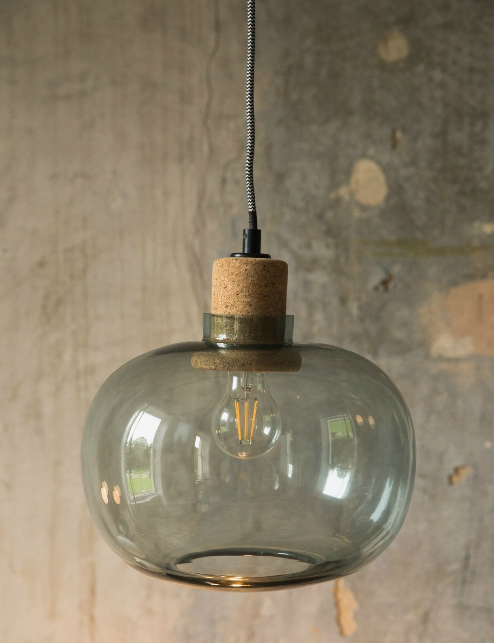 Tivoli Blue Glass Amp Cork Pendant Light At Rose Amp Grey