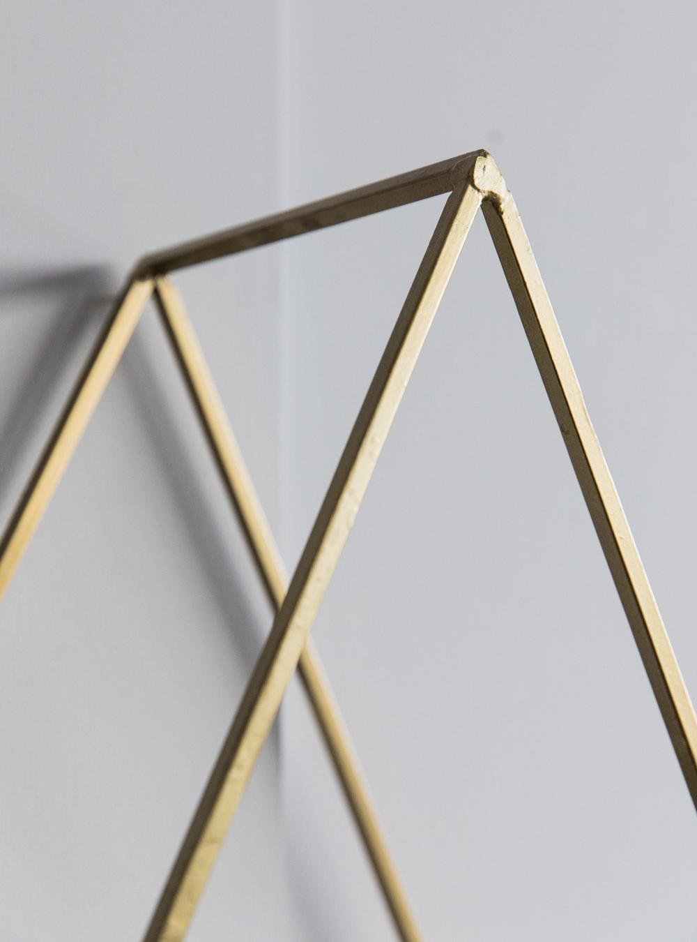 Triangle Brass Wire Mesh Shelf at Rose & Grey