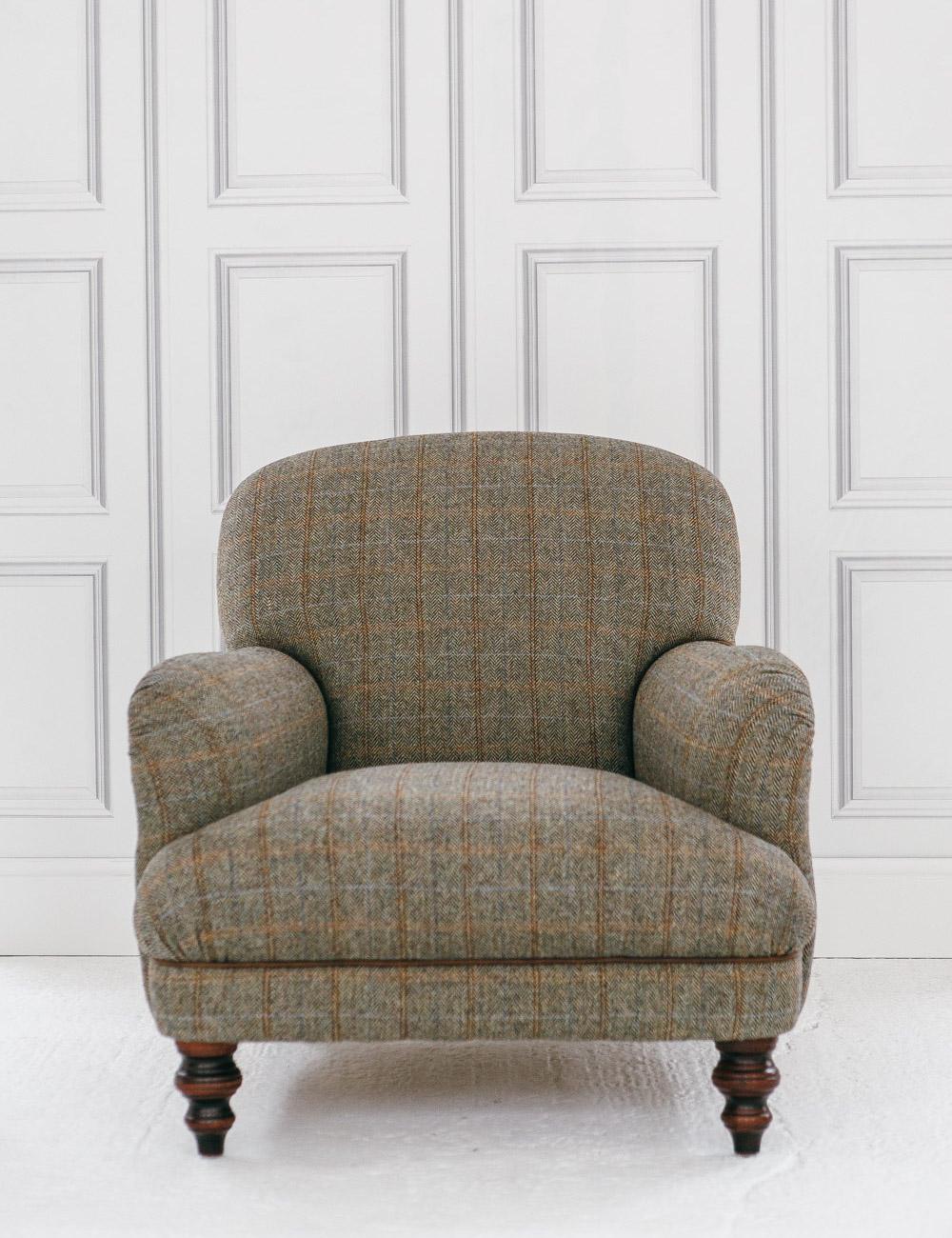 Manor Harris Tweed Chair In Bracken At Rose And Grey