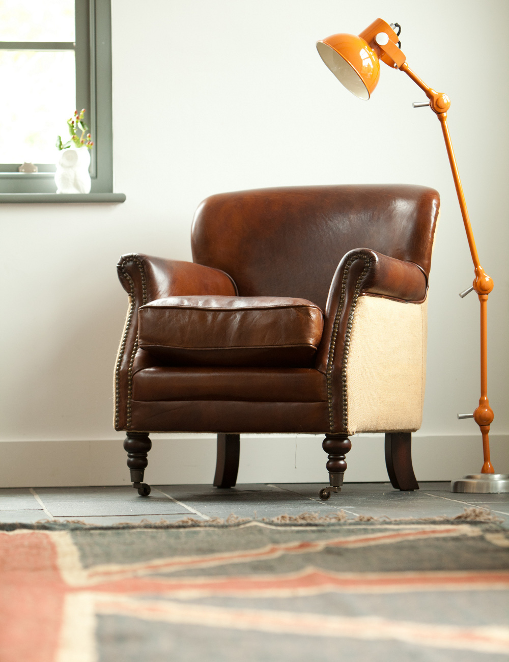 vintage leather and linen armchair at rose grey vintage leather furniture. Black Bedroom Furniture Sets. Home Design Ideas