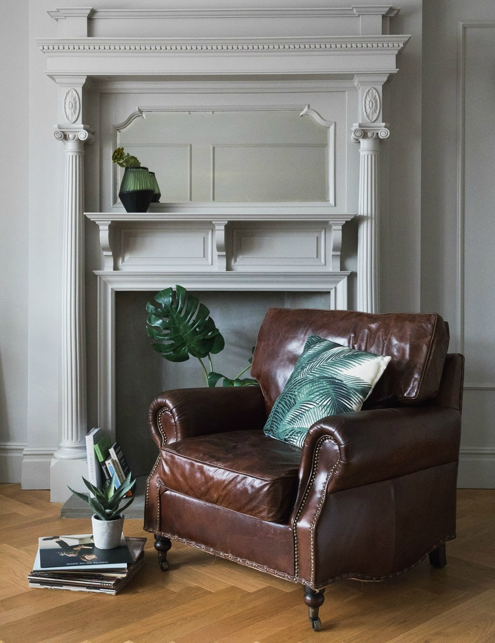 Vintage Distressed Leather Armchair | Rose & Grey